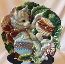 "Fitz and Floyd Kristrmas Kitty 9"" Canape Plate"