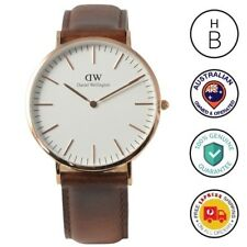 New Daniel Wellington Mens Watch Classic St Mawes Rose Gold Brown Leather 0106DW