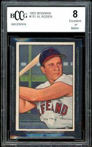 1952 Bowman #151 Al Rosen Card BGS BCCG 8 Excellent+