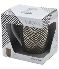 Mikasa 16oz Geo Diamond Luxe Glam Gold Black Mug Coffee Cup White Bone Chin Deco