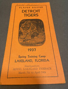 1937 BASEBALL DETROIT TIGERS SPRING TRAING CAMP PLAYER ROSTER TRI-FOLD BOOKLET~