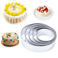 5Pcs Stainless Steel Round Cookie Biscuit Pastry Cutter Baking Cake Decor Mold