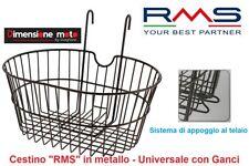 """Cestino Universale RMS in Metallo Nero con Ganci per Bici 20""""-24""""-26"""" Graziella"""