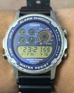 1989 Casio Alarm Chronograph Pentagraph DW-7200 Vintage Watch