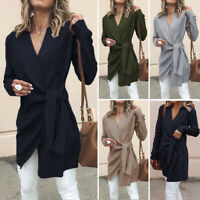 Womens Winter Cardigan Long Sweater Trench Coat Knitted Oversized Outwear Blouse
