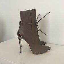 Authentic Casadei Techno Blade Ankle Boots Grey Fog Leather Size 35 Brand New