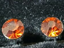 PUNK ROCK BRONZE CITRINE  Coloured CZ Stainless Steel Earrings Studs 6.MM