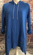 Tommy Hilfiger Sport Womens Small Blue Stretch Hooded Pull Over Shirt Rayon NWT