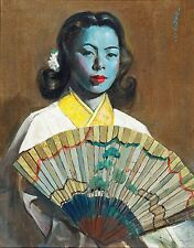 03 The Fan by Cecil Beall (1 of 4) Tretchikoff Era - Vintage Art Print Size A4