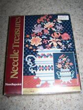 New listing Vintage Needle Treasures Needlepoint Kit Floral Vase New In Package 1982