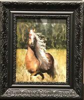 Vintage Original Painting Ölgemälde Haflinger Pferd Impressionismus Realismus