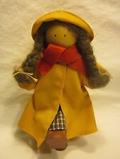 Ladie and Friends Doll Wooden with Cloth Yellow Raincoat 1990