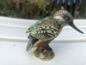 Pretty enamel & jewelled bird trinket box, kingfisher, hinged