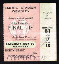 1966 World Cup Final England Vs. West Germany Ticket PRESS