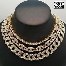 "Hip Hop Iced Gold PT 18"" Cuban & GUCCI & 1 Row Tennis Choker Chain Necklace"