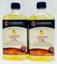 2 Guardsman Revitalizing LEMON OIL For Teak and Other Fine Woods Cleans 16 oz