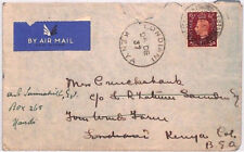 BN229 1937 GB Herts Airmail Cover KUT Kenya Forwarded FARM *Londiani* CDS Nandi