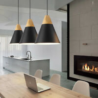 Black Chandelier Kitchen LED Ceiling Lights Office Wood Modern Pendant Lighting