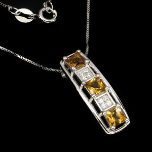 Unheated Square Citrine Cz 14K White Gold Plate 925 Sterling Silver Necklace 18