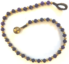 brass beads *Bn* lovely anklet, 26.8cm Purple Bead Ankle Chain, purple glass and