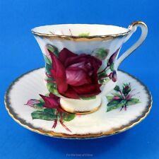 Dark Red Rose Exterior Paragon Tea Cup and Saucer Set