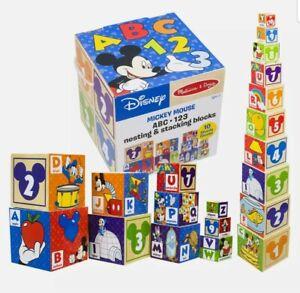 Melissa & Doug Mickey Mouse & Friends 10pc Nesting & Stacking Blocks ABC123 NEW