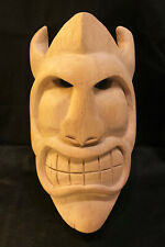 Wooden hand carved tiki kabuki Devil mask