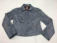 TORY BURCH Navy Blue Silver Plaid Blazer Jacket Sz 4