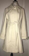 Alfani White Wool Blend Topcoat Hidden Belt Size Medium