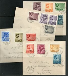 Seychelles Cover Victoria 18.01.1949 King Georg VI - 4 Covers to 5 Rupie