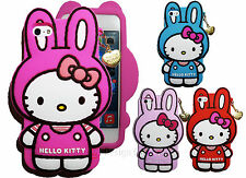 Hello Kitty in Rabbit Costume 3D Silicone Soft Case W Gold Chain For iPhone 5 5S