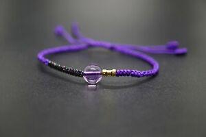 Fine Round Amethyst Bead Braided Bracelet Adjustable Purple Woven Friendship