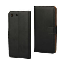 Black Genuine Leather Business Wallet Card Case Cover Stand for Sony Xperia M5