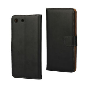 For Sony Xperia E5 Black Genuine Leather Business Wallet Card Case Cover Stand