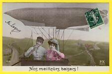 """cpa Fantaisie Aviation BALLON DIRIGEABLE Fantasy Airship """"Nos Meilleurs Baisers"""""""
