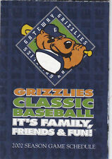 2002 GATEWAY GRIZZLIES PROFESSIONAL BASEBALL POCKET SCHEDULE
