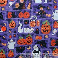 BonEful Fabric FQ Cotton Purple Halloween Orange Black Witch Ghost Cat Bat Star
