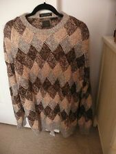 PAOLO CONTI HAND MADE CREW NECK SWEATER SIZE XL BEIGE/GREY/ BROWN   VINTAGE 90'S