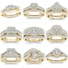 Gorgeous 18k Yellow Gold Plated Rings Women White Sapphire Wedding Rings Sz 6-10