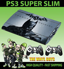 Playstation ps3 super slim Batman Arkham Origins PEAU AUTOCOLLANT & 2 pad peau