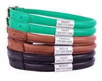 Rolled Leather Dog Collar OPTIONAL PERSONALIZED ID TAG Bead Soft Padded Collars