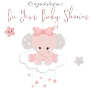 NEW BABY GIRL 'ELEPHANT' BABY SHOWER CARD - OPTIONAL PERSONALISED MESSAGE INSIDE