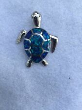 NEW STERLING SILVER & OPAL STONE NAUTICAL LOGGERHEAD TURTLE LRG SIZE PENDANT