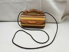 Vintage Handmade WOOD ROLL TOP Clutch Bag Purse BROWN Striped FASHION ART