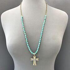 Ball Beads Necklace Cross Pendant Boho Long Gold Finish Turquoise Stone