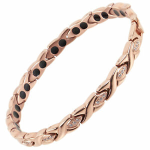 New Ladies Titanium Magnetic Bracelet Sisto-X Lily Rose Gold Crystals Gift Box