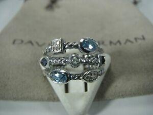 DAVID YURMAN AUTHENTIC CONFETTI BLUE TOPAZ & IOLITE PAVE DIAMOND RING SIZE 5