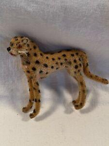 Vintage Wagner Kunstlerschutz West Germany Handwork Flocked Animal Cheetah Tiger