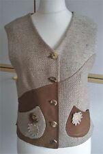 Perry Country Trachtenweste mit Lederbesatz Damen beige-braun Größe 38