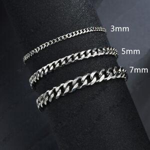 Classic Cuban Chain Women Men Bracelets Stainless Steel 3/5/7mm Chain Bracelets